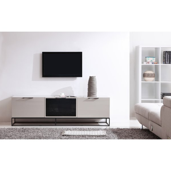 Cream Gloss Tv Stands Within Fashionable Shop B Modern Animator High Gloss Cream/ Black Modern Ir Tv Stand (Gallery 14 of 20)