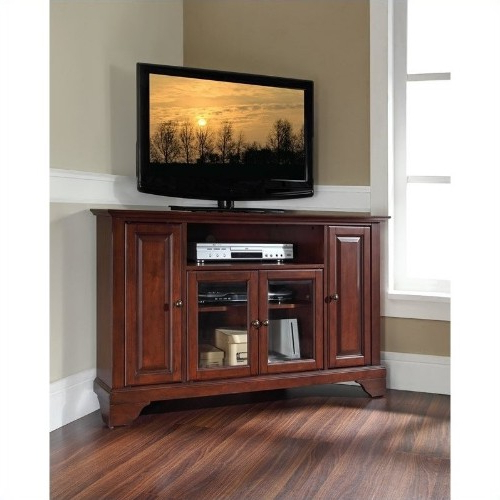 "Crosley Furniture Lafayette 48"" Corner Tv Stand In Vintage Mahogany Throughout Most Recent Mahogany Tv Stands (Gallery 20 of 20)"