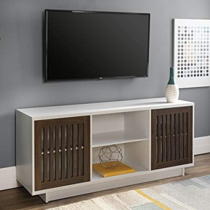 "Current Amazon: We Furniture Az56Vsdsw Tv Stand, 56"", Solid White/dark With Dark Walnut Tv Stands (View 2 of 20)"