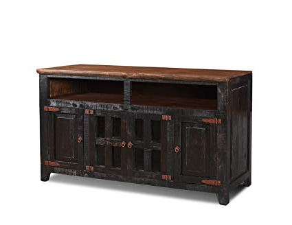 "Current Amazon: Westgate Solid Wood 60"" Rustic Black Tv Stand: Kitchen Throughout Solid Wood Black Tv Stands (View 7 of 20)"