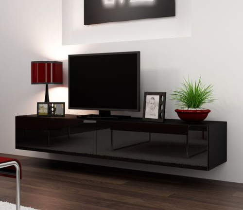 Current Black Gloss Tv Cabinets Regarding Black Gloss Tv Stands For 42 50 56 75 Inch Flat Screen Tv Cabinets (View 11 of 20)