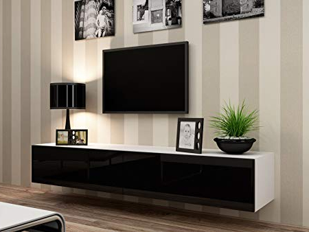 Current Black Gloss Tv Wall Unit For High Gloss Tv Stand Entertainment Cabinet – 180Cm Floating Wall Unit (Gallery 17 of 20)