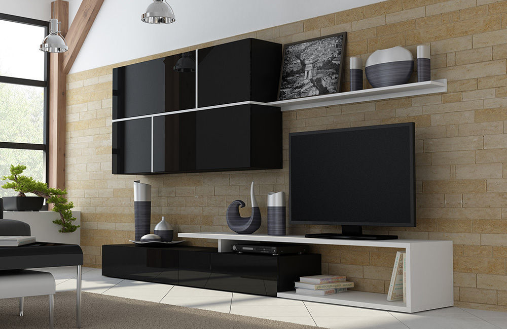Current Black Gloss Tv Wall Unit Inside High Gloss Tv Wall Unit Goya – White/black (Gallery 1 of 20)