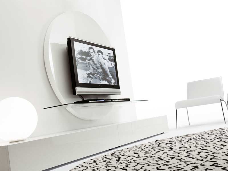 Current Contemporary Round Black & White Tv Stands From Pacini & Cappellini Regarding Contemporary White Tv Stands (View 8 of 20)