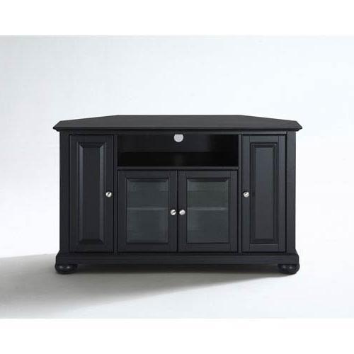 Current Crosley Furniture Alexandria 48 Inch Corner Tv Stand In Black Finish In Black Corner Tv Cabinets (Gallery 1 of 20)