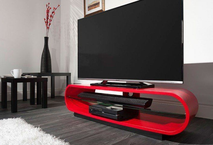 Current Curve Tv Stands Within Techlink Ovid Curve Tv Stand Ovc130Sr Red (View 4 of 20)