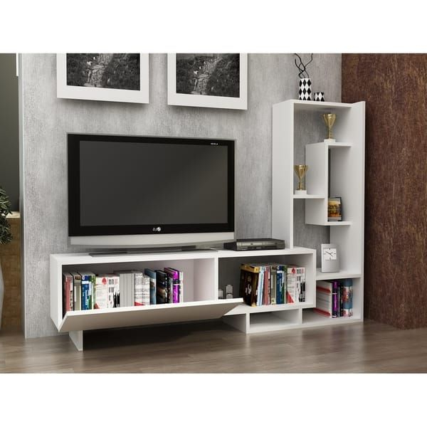 Current Decorotika Pegai White Wood 60 Inch Tv Stand With Bookshelves Regarding Tv Stands And Bookshelf (View 4 of 20)