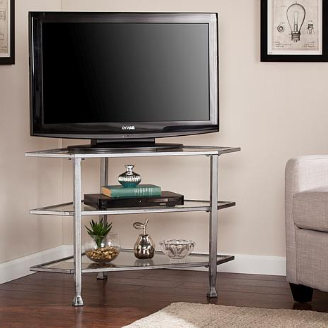 Current Dina Metal/glass Corner Tv Stand – Distressed Silver –  (View 2 of 20)