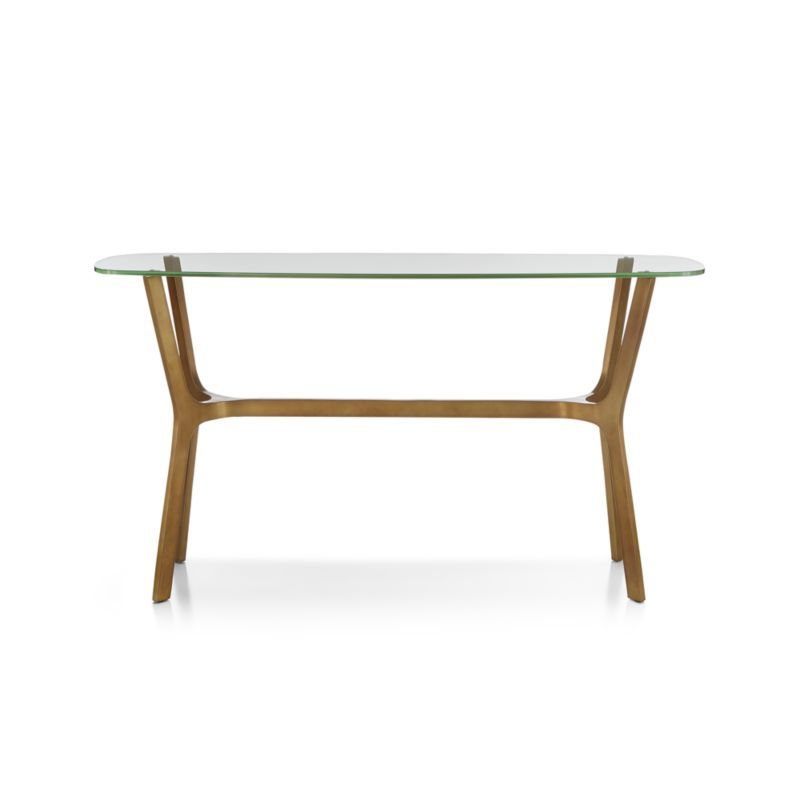 Current Elke Glass Console Tables With Brass Base Inside Elke Glass Console Table – Crate And Barrel (View 3 of 20)