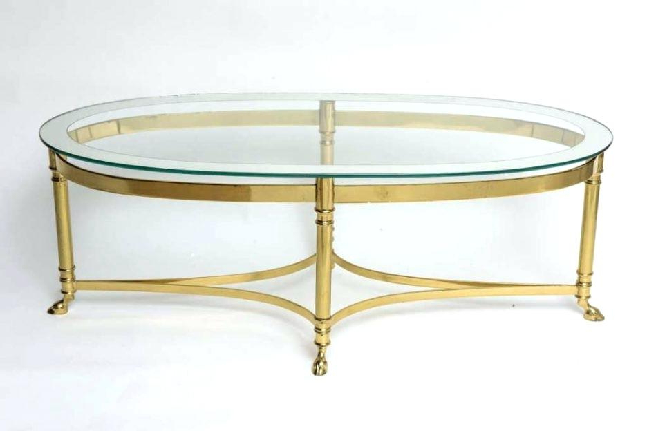 Current Elke Glass Console Tables With Brass Base With Regard To Brass Base Glass Top Coffee Table Modern Style Round Key For Sale At (View 13 of 20)
