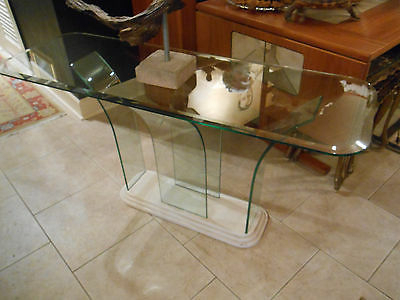 Current Era Glass Console Tables Intended For Mid Century Style, Milo Baughman Era, Waterfall  Curved  All Glass (View 7 of 20)