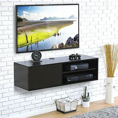Current Floating Entertainment Center Tv Stand Wall Unit Large Inch Screen In Large Black Tv Unit (View 3 of 20)