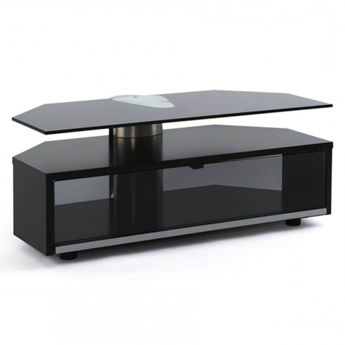 Current Glass Fronted Tv Cabinet Inside Off The Wall Duo Glass Fronted Tv Cabinet Stand 1000Mm Black (View 3 of 20)
