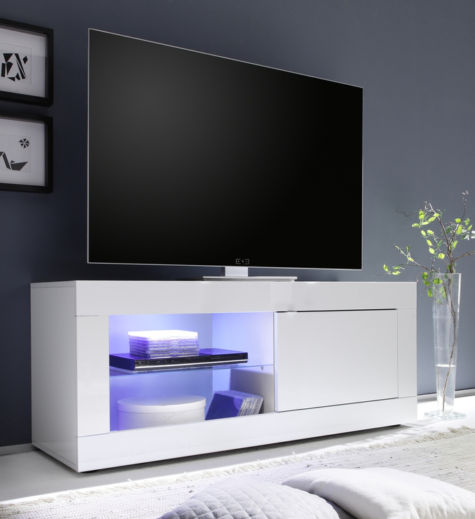 Current Gloss White Tv Cabinets Intended For Urbino Collection Small Tv Unit Including Led Spot Light – High (View 3 of 20)