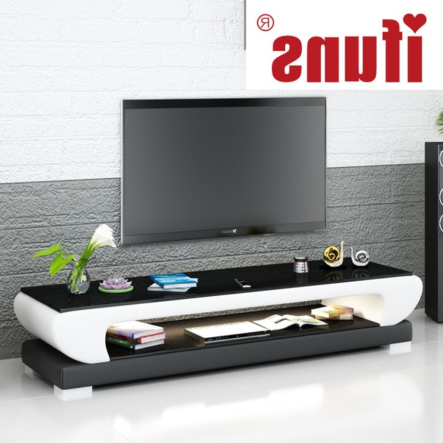 Current Ifuns New Design Modern White Black Brown Leather Tv Stand,tv Table In White And Black Tv Stands (Gallery 4 of 20)