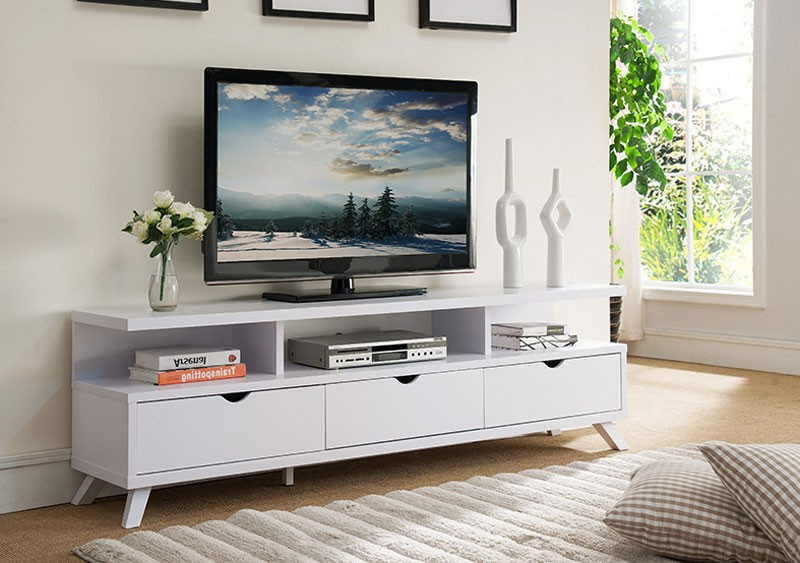 Current Lanie Modern White Tv Stand Pertaining To Long White Tv Stands (Gallery 3 of 20)
