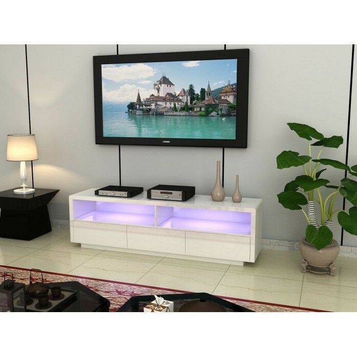Current Large Black Tv Unit Within Large White Or Black High Gloss Led Light Tv Unit With Drawers Brand (View 4 of 20)
