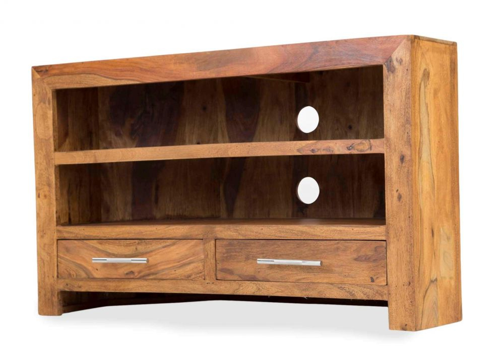 Current Large Corner Tv Cabinets Inside Two Drawer Sheesham Wood Corner Tv Unit – India – Ez Living Furniture (View 4 of 20)