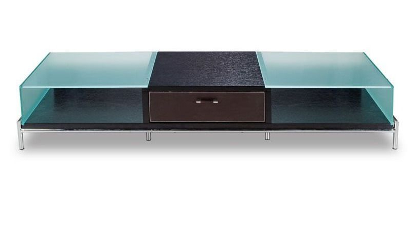 Current Modern Glass Tv Stands Within Contemporary Frosted Glass And Wood Tv Stand On Chrome Legs (View 8 of 20)