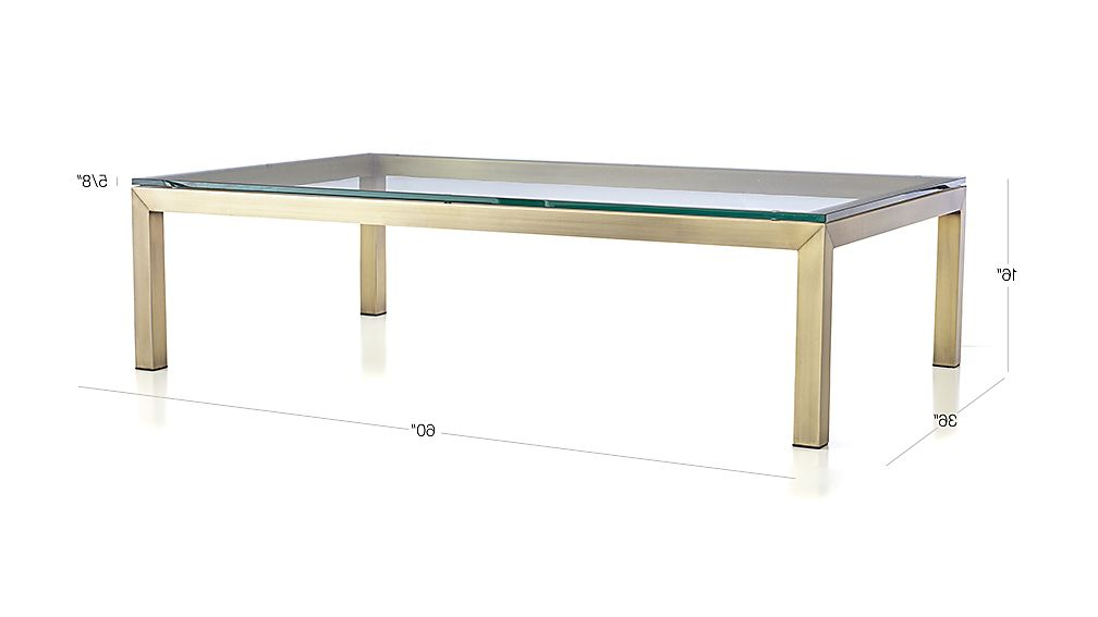 Current Parsons Clear Glass Top/ Brass Base 60x36 Large Rectangular Coffee Table In Parsons Clear Glass Top & Dark Steel Base 48x16 Console Tables (View 15 of 20)
