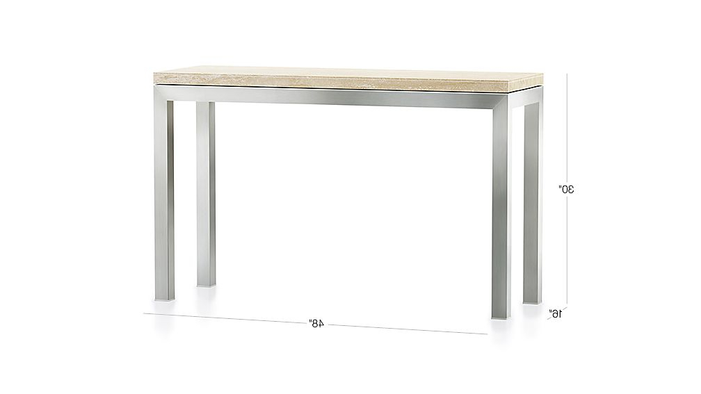 Current Parsons White Marble Top & Brass Base 48X16 Console Tables With Regard To Parsons Travertine Top/ Stainless Steel Base 48X16 Console + Reviews (View 6 of 20)