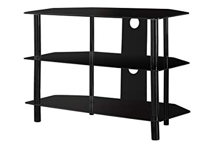 Current Shiny Tv Stands For Amazon: Monarch Specialties Black Metal Tv Stand With Tempered (Gallery 11 of 20)