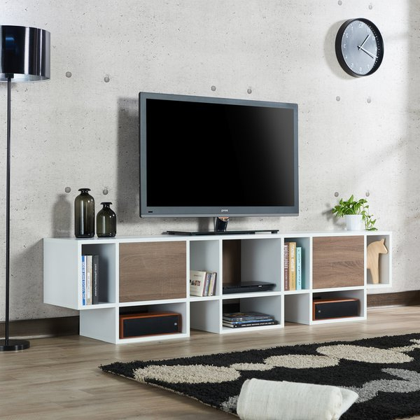 Current Shop Furniture Of America Veruca Contemporary Two Tone White In Noah Rustic White 66 Inch Tv Stands (View 14 of 17)