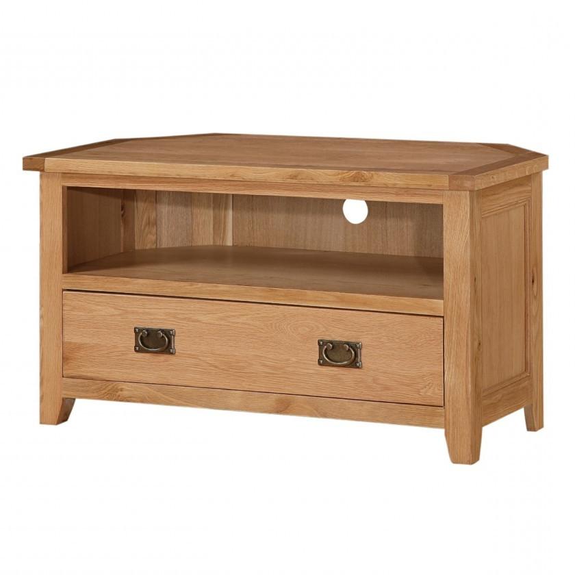 Current Solid Oak Corner Tv Cabinets Inside Stirling Solid Oak Corner Tv Unit (View 4 of 20)