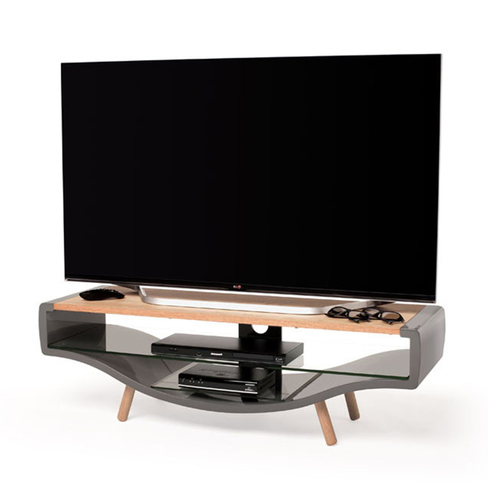 Current Techlink Tv Stands Sale With Techlink Kv120Glo Kurve Contemporary Gloss Grey And Oak Tv Stand (Gallery 6 of 20)