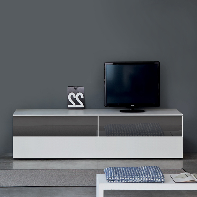 Current Tv Drawer Units With Regard To Space White High Gloss Tv Unit, 240Cm (View 4 of 20)