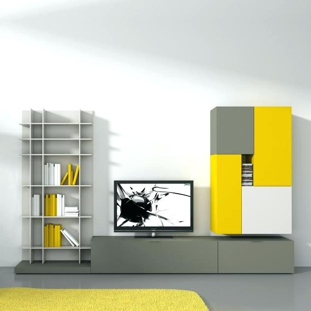 Current Tv Stands Bookshelf Bookcase Stand Combo Innovative Common Yellow Regarding Yellow Tv Stands (View 4 of 20)