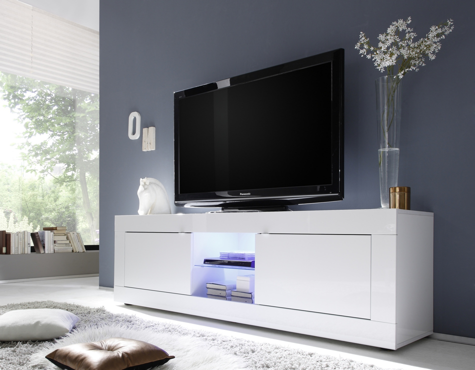 Current Urbino Collection Big Tv Unit Including Led Spot – White Gloss Pertaining To Gloss White Tv Cabinets (View 4 of 20)