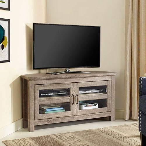 Current Walker Edison Furniture Co. 44 Inch Corner Wood Tv Stand Driftwood Pertaining To Corner Wooden Tv Stands (Gallery 6 of 20)