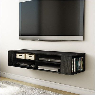 Current Wall Mounted Media Console Black Tv Stand Entertainment Center With Regard To Wall Mounted Tv Racks (View 2 of 20)