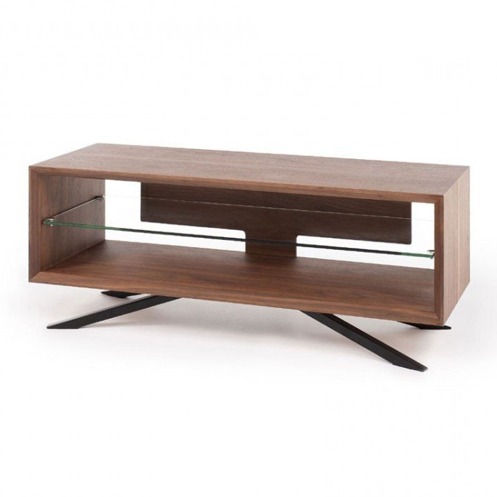 Current Walnut Tv Cabinets With Doors Within Techlink Aa110W Arena Walnut Tv Stand (406089) (View 3 of 20)