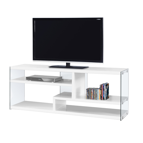 "Current White Glass Tv Stands Regarding Tv Stand – 60""l / Glossy White With Tempered Glass : Tv Stands (Gallery 14 of 20)"