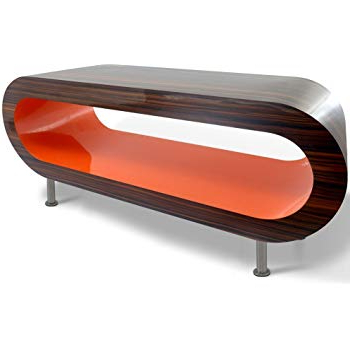 Current Zespoke Retro Stripy Walnut And Orange Hoop Coffee Table/tv Stand In Within Orange Tv Stands (View 1 of 20)