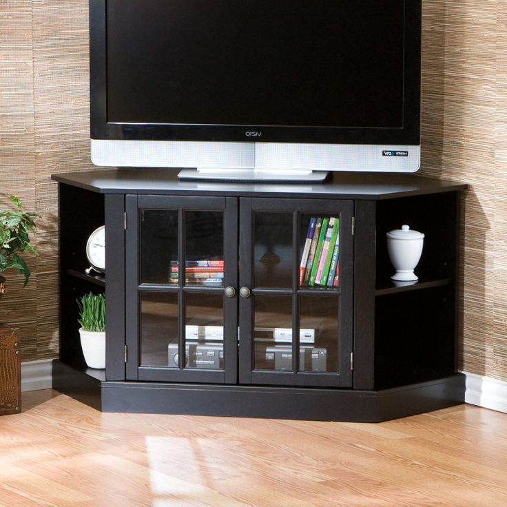 Custom Cabinets Pleasant Corner Media Cabinet 50 Inch Tvcorner Media Inside Newest Black Corner Tv Cabinets With Glass Doors (View 13 of 20)