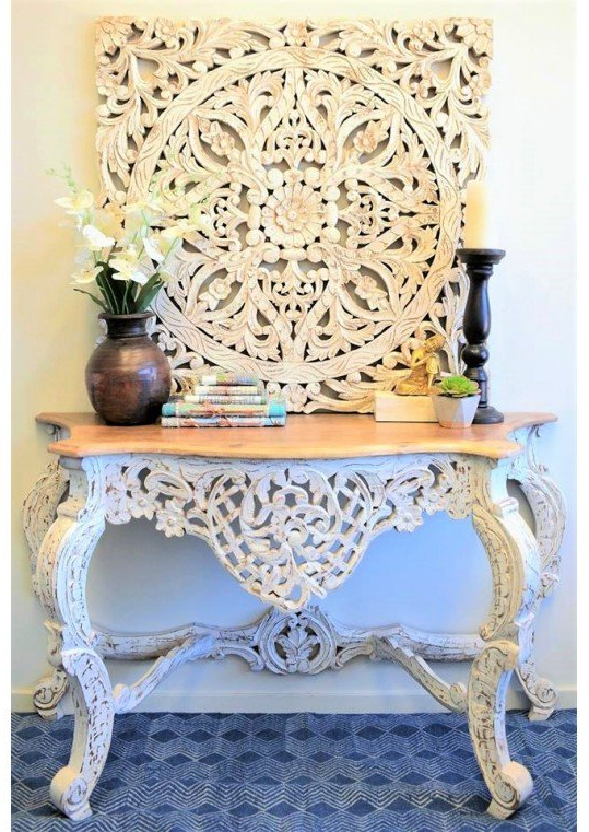 Custom Furniture – Indian, Recycled Timber, Shabby Chic Furniture Intended For Favorite Hand Carved White Wash Console Tables (View 3 of 20)