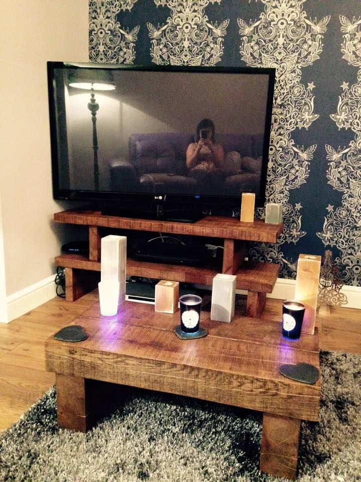 Customer Order Solid Oak Tv Stand, Matching Coffee Table And Candle For Trendy Coffee Tables And Tv Stands Matching (View 5 of 20)