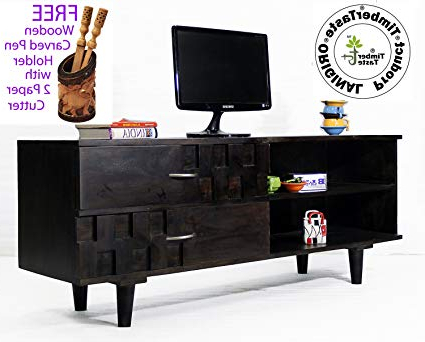 Daintree Timbertaste Sheesham Wood Dark Walnut Finish Open Tv Unit Pertaining To Most Current Daintree Tv Stands (Gallery 19 of 20)