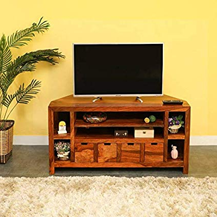 Daintree Tv Stands For Most Recent Daintree Erica Tv Unit Cabinet (lacquer Finish, Natural Teak (View 8 of 20)