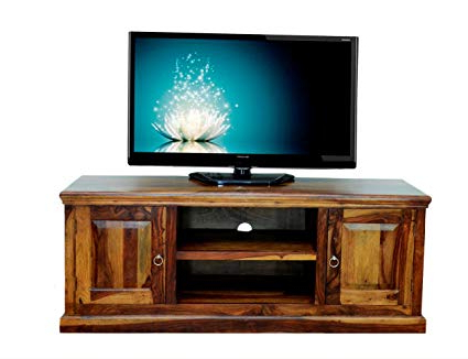 Daintree Tv Stands Intended For Famous Buy Sandeep Furniture Pure Sheesham Wood Brown Tv Stand Storage (Gallery 14 of 20)