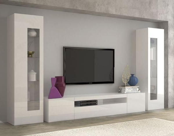 Daiquiri, Modern Tv Cabinet And Display Units Combination In White Intended For Favorite Tv Cabinets And Wall Units (Gallery 9 of 20)