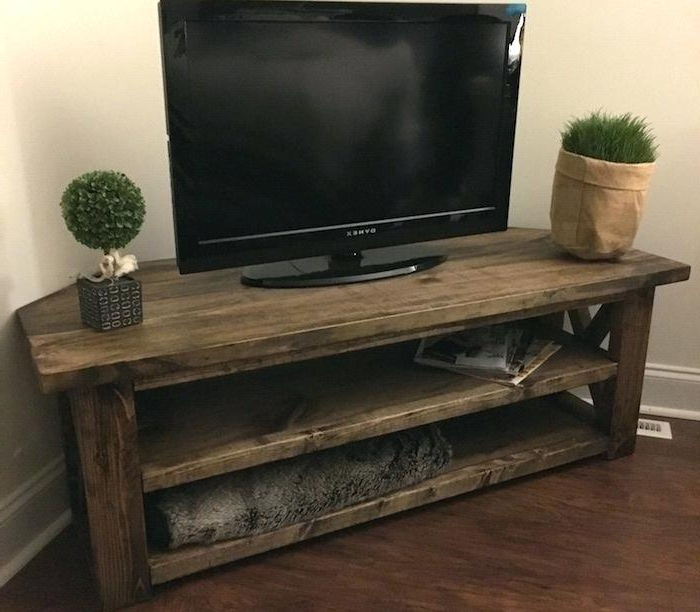 Dark Brown Corner Tv Stands For Most Recently Released Small Corner Tv Stand – Soundbubble (View 4 of 20)