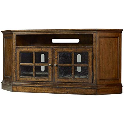 Dark Brown Corner Tv Stands Regarding Recent Amazon: Hooker Brantley 2 Door Corner Tv Stand In Dark Wood (View 7 of 20)