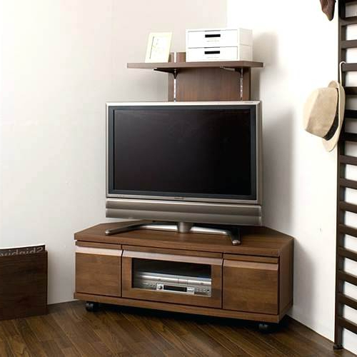 Dark Brown Corner Tv Stands Regarding Well Liked Brown Corner Tv Stand Dark Wood Corner Stand Table Surprising Wood (Gallery 8 of 20)