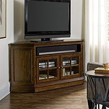 Dark Brown Corner Tv Stands Within Well Known Amazon: Hooker Brantley 2 Door Corner Tv Stand In Dark Wood (View 9 of 20)