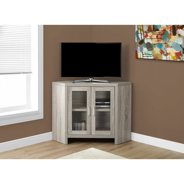 Dark Taupe 42 Inch Long Corner Tv Stand With Glass Doors Within Preferred Corner Tv Unit With Glass Doors (View 9 of 20)