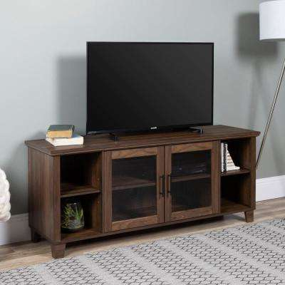 Dark Walnut Tv Stands Inside Well Liked Walnut – Tv Stands – Living Room Furniture – The Home Depot (View 3 of 20)